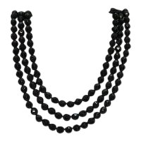 Fabulous Signed Hobe Vintage Three Strand Black Glass Beaded Necklace