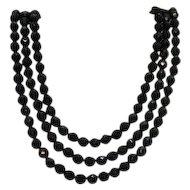 50% OFF Fabulous Signed Hobe Vintage Three Strand Black Glass Beaded Necklace