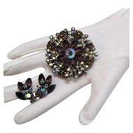 50% OFF Amazing Vintage Plum Rhinestone Brooch Earrings Set Art Glass Stones