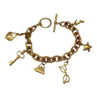 50% OFF Vintage Signed VS Brushed Gold Metal Charm Bracelet Free Shipping