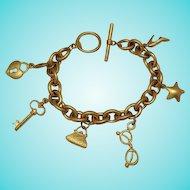 50% OFF Vintage Signed VS Brushed Gold Metal Charm Bracelet