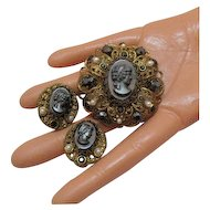 50% OFF Gorgeous Vintage Hematite W Germany Cameo Brooch Earrings Set