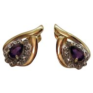 50% Off Vintage Signed DL Gold over Sterling Silver Amethyst Pierced Earrings