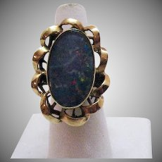 Elaborate Vintage Doublet Opal 10K Gold Ring Hand Crafted 1960s
