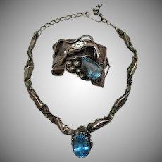 50% Off Couture Vintage Sterling Silver Genuine Blue Topaz Necklace Bracelet Set 106 grams