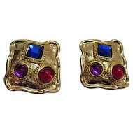 50% OFF Vintage Poured Glass Rhinestone Clip Earrings