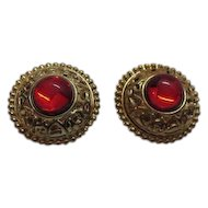 50% OFF Vintage Etruscan Gold Plated Red Poured Glass Clip Earrings