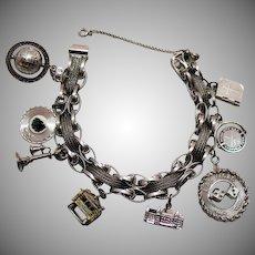 60% OFF Amazing Vintage 1967 Sterling Silver Charm Bracelet Bracelet Unusual 50.7 Grams
