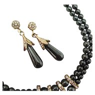 50% OFF Vintage Hematite Beaded Rhinestone Necklace Earrings Set