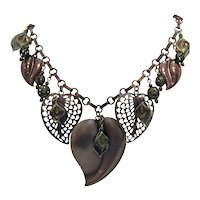 Fun Vintage Copper Charm Heart Necklace Signed 1928 Free Shipping