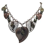 50% OFF Fun Vintage Copper Charm Heart Necklace Signed 1928
