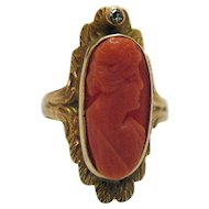 Gorgeous Antique Edwardian 10K Gold Coral Cameo Diamond Ring