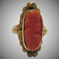 One Week ONLY 50% Off Gorgeous Antique Edwardian 10K Gold Coral Cameo Diamond Ring