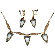 50% OFF Amazing Antique Edwardian Aquamarine Glass Deltoid Stones Handcrafted Filigree Necklace Earrings Set