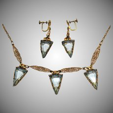Amazing Antique Edwardian Aquamarine Glass Deltoid Stones Handcrafted Filigree Necklace Earrings Set