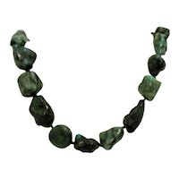 50% Off Bold Vintage 14K Green Turquoise Bolder Necklace Hand Knotted