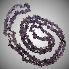 50% OFF Gorgeous Vintage Genuine Amethyst Sterling Beaded Necklace 40 Inches Long