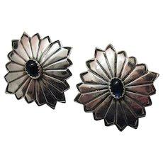 50% Off Unusual Vintage Concho Sterling Silver Pierced Earrings