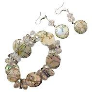 50% Off Vintage MOP Rhinestones Crystal Bead Bracelet Pierced Earrings Set