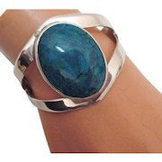 50% Off Captivating Vintage Signed Taxco Mexico Sterling Silver Turquoise Bracelet BOLD TC-15