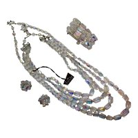 Vintage Four Piece Crystal Faceted Glass Beaded Costume Jewelry Parure by Pakula Free Shipping