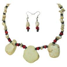 50% Off Vintage Howlite Coral Hematite Necklace Pierced Earrings Set