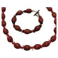50% Off Vintage Red Jasper Branch Coral Necklace Bracelet Set
