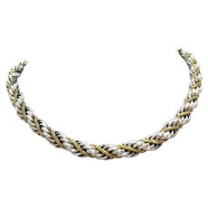 50% Off Vintage Signed Crown Trifari Two-Tone Chunky Chain Necklace