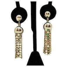 50% OFF Vintage Shimmery Dangle Silver Mesh Clip Earrings
