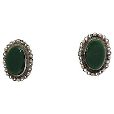 50% OFF Gorgeous Vintage Sterling Silver Green Onyx Mexican Earrings
