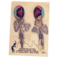 Vintage Signed QT 925 Sterling Silver Pierced Earrings~Hand Crafted