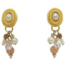 50% OFF Gorgeous Vintage Faux Pearl Cabochon Dangle Beaded Pierced Earrings