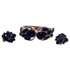50% OFF Vintage Clamper Bracelet Black Rhinestone Clip Earrings Set