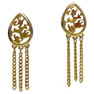 Sexy Vintage Golden Chain Tassel Clip Earrings