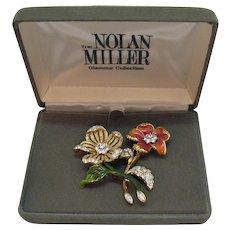 Signed Nolan Miller Glamour Collection Vintage Brooch Set Original Box 1980s Free Shipping