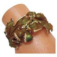 Unusual Vintage Acorn  Leaf Enameled Clamper Bracelet