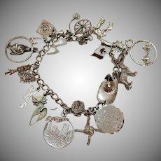 50% Off Vintage Sterling Silver Charm Bracelet 18 Charms 41.7 Grams