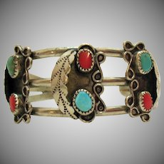 Vintage Native American Indian Sterling Silver Cuff Bracelet Turquoise Coral
