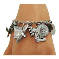 Awesome Vintage Signed Carl Art Sterling Silver Charm Bracelet 34.8 Grams Free Shipping