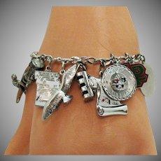50% Off Awesome Vintage Signed Carl Art Sterling Silver Charm Bracelet 34.8 Grams