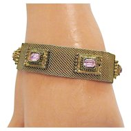 50% OFF Vintage Victorian Revival Pink Rhinestone Mesh Bracelet
