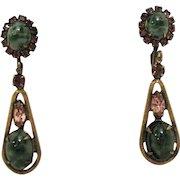 50% Off Unique Vintage Art Glass Rhinestone Clip Dangle Earrings