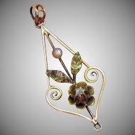 50% Off Antique Victorian 14K Pearl Diamond Pendant
