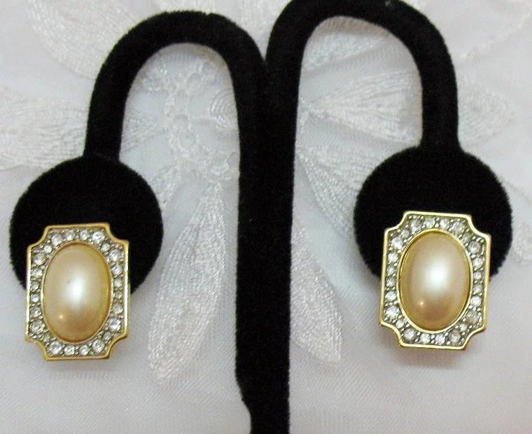 Is Monet Jewelry Real >> Gorgeous Signed Monet Vintage Faux Pearl Diamond Pierced Earrings : Appletree Junction Antiques ...