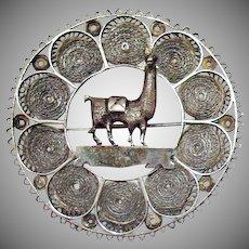 50% OFF Amazing Vintage Sterling Silver Filigree Peruvian Llama Hand Wrought Brooch