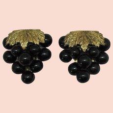 Beautiful Vintage 1920s Grape Cluster Brass Fur Clips