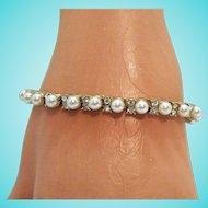 50% OFF Beautiful Vintage Faux Pearl Diamond Line Bracelet