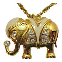 Book Signed KJL Kenneth Jay Lane for Avon Vintage Elephant Pendant Necklace MINT Free Shipping