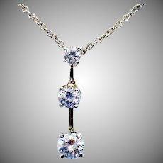 Stunning Vintage Sterling Silver Cubic Zirconia Three Stone Necklace
