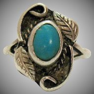 Vintage Native American Indian Ring Hand Wrought Turquoise Sterling Silver